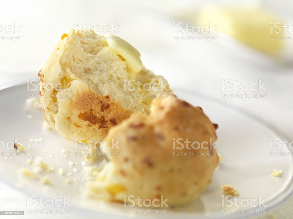 Fresh Baked Scones with Melted Butter stock photo