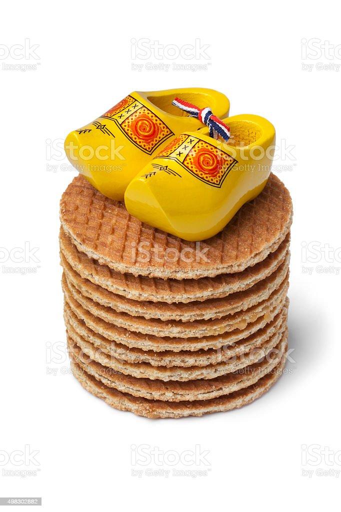 Fresh baked syrup waffles stock photo