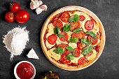 Fresh baked vegetarian itatian pizza