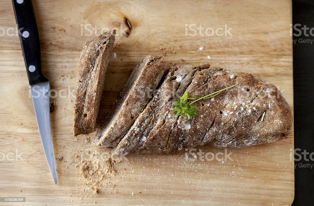 Fresh baked wholemeal bread stock photo