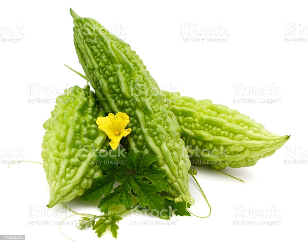 Fresh balsam pear and leaf isolated on white background stock photo