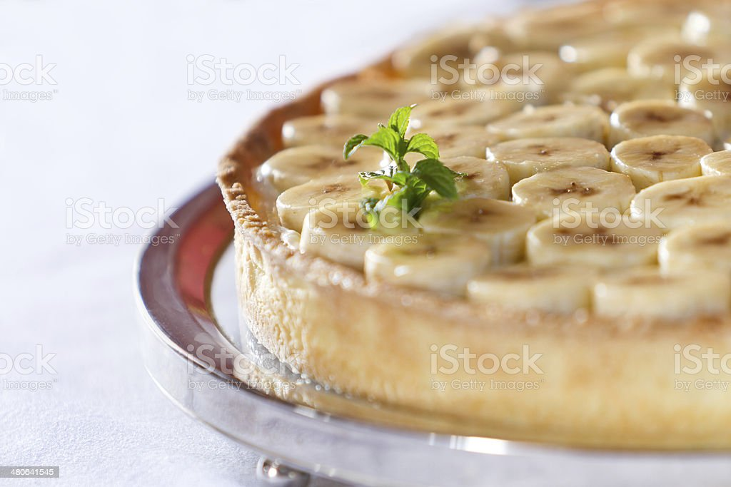 Fresh banana and french cream pie stock photo