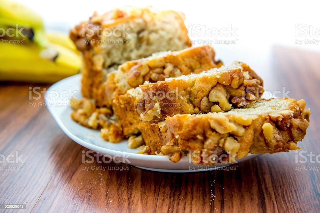 fresh banana walnut bread stock photo