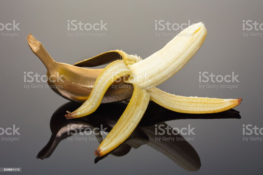 Fresh banana with golden rind stock photo