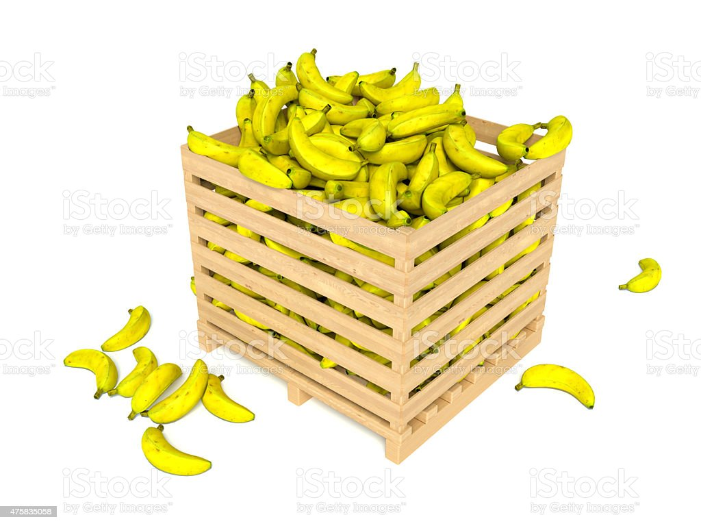 Fresh bananas in wooden box isolated on white background stock photo