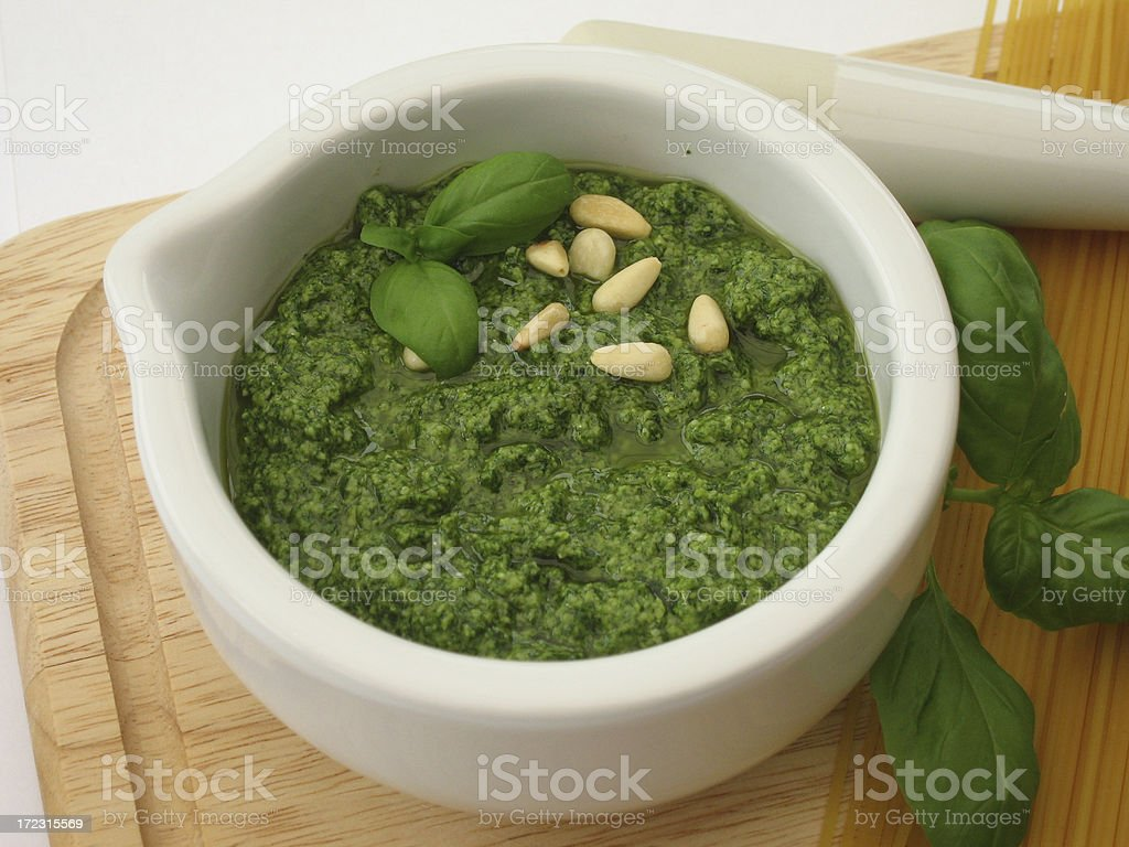 Fresh basil pesto stock photo