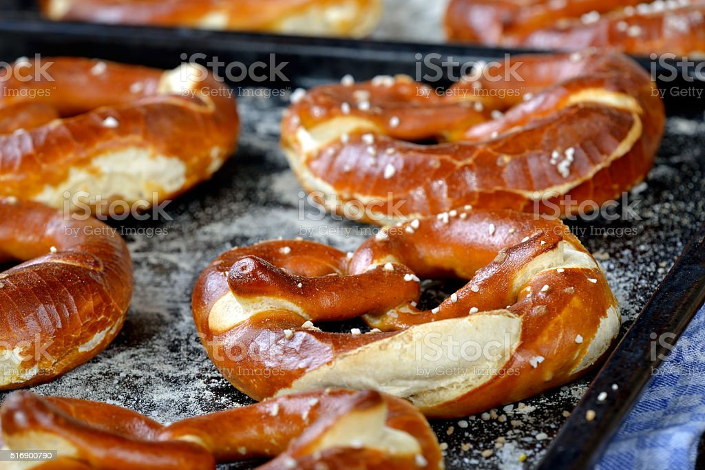 Fresh Bavarian pretzels stock photo