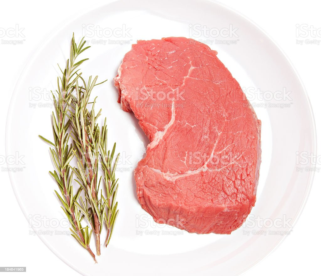 Fresh beef and rosemary stock photo