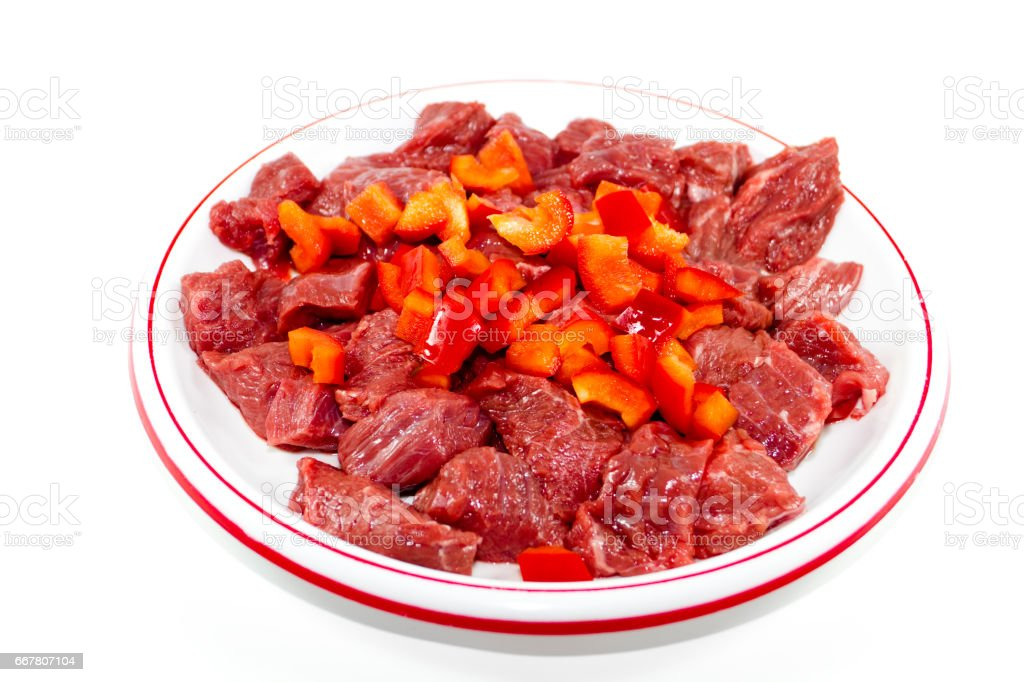 Fresh beef Meat with Red Capsicum Cubes stock photo