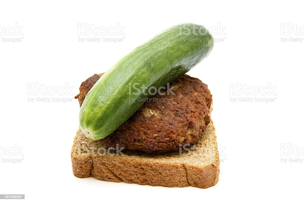 Fresh Beef Meatball with Toast Bread and Green Cucumber stock photo