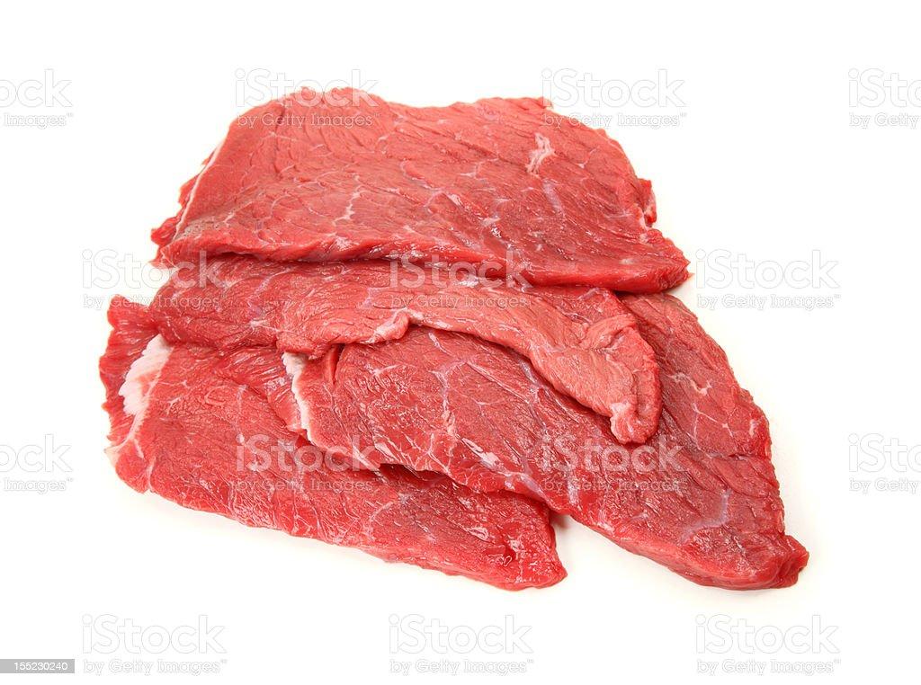 Fresh beef schnitzel stock photo