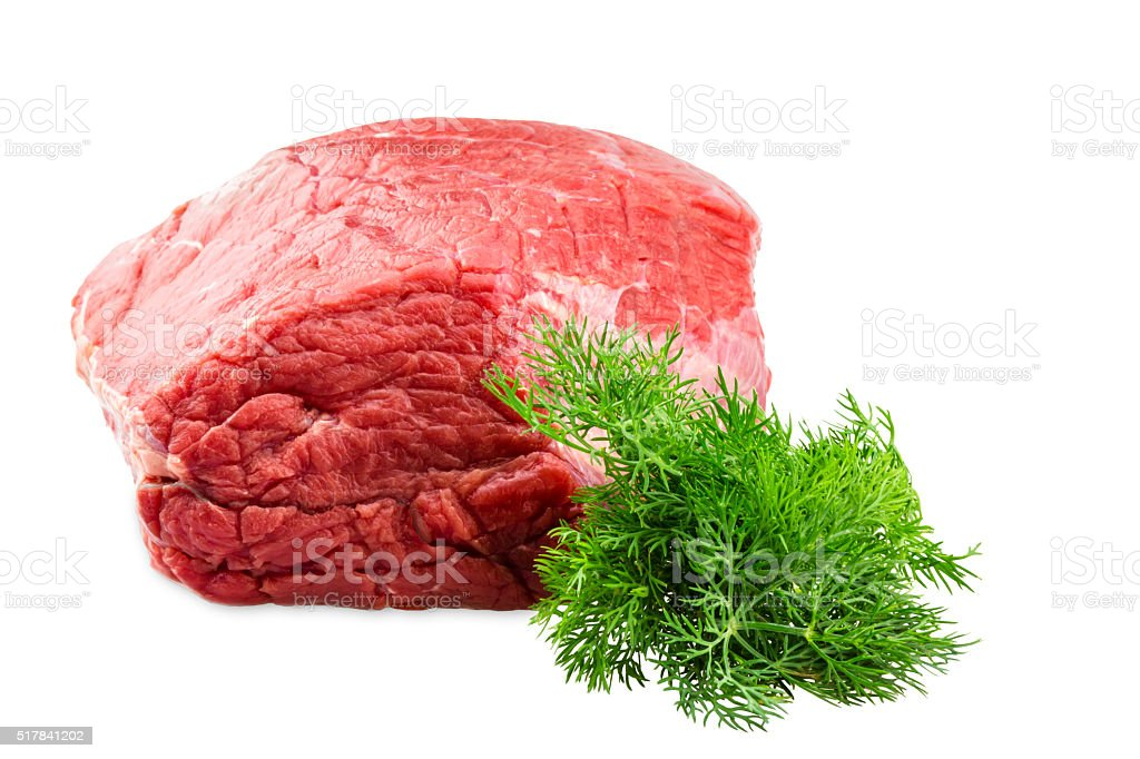 fresh beef slab with dill isolated on white stock photo