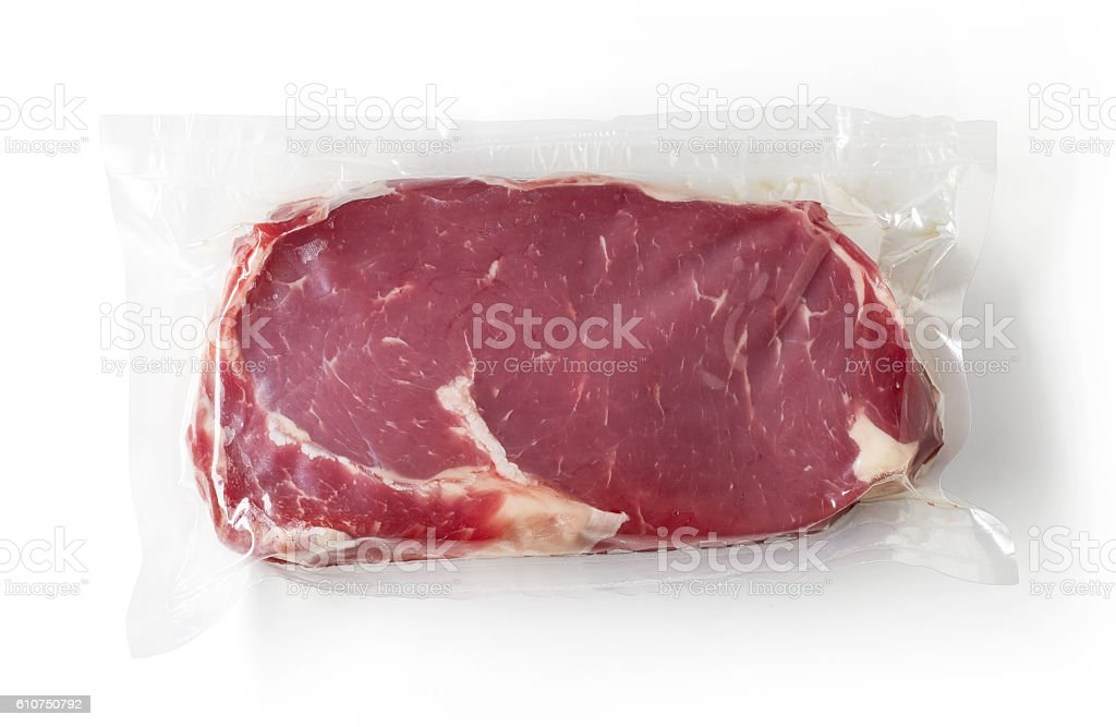 Fresh beef steak for sous vide cooking, isolated on white stock photo