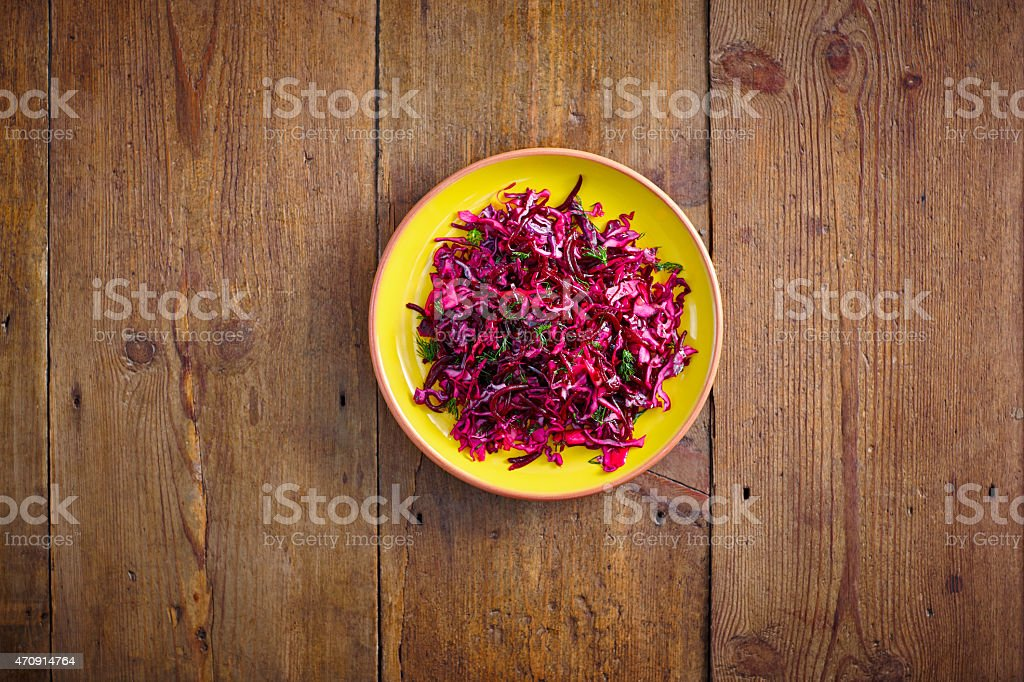 Fresh beet root and red cabbage salad stock photo