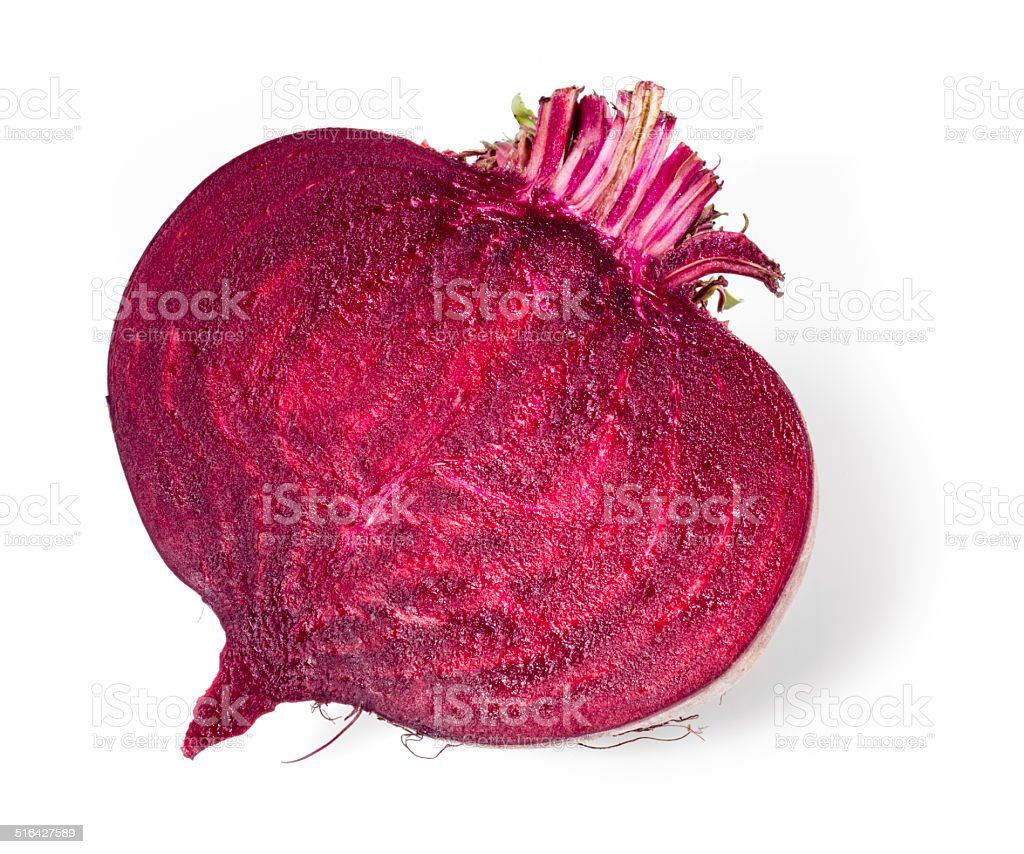 Fresh beetroot half isolated on white stock photo
