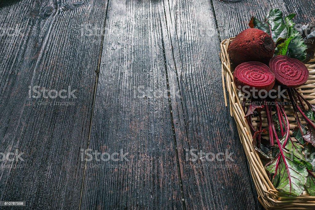 Fresh beetroot on tray stock photo