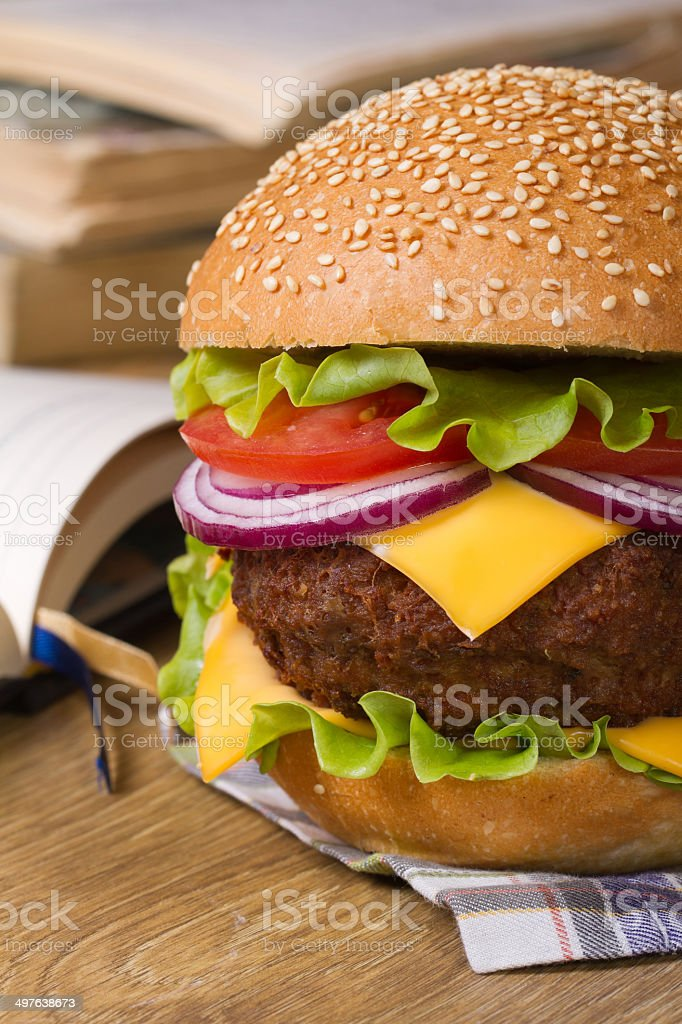 Fresh big hamburger on a background of notebooks and textbooks stock photo