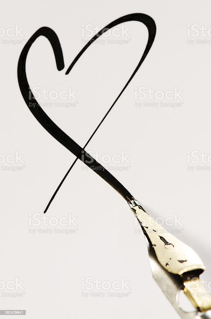 Fresh Black Calligraphy Heart stock photo