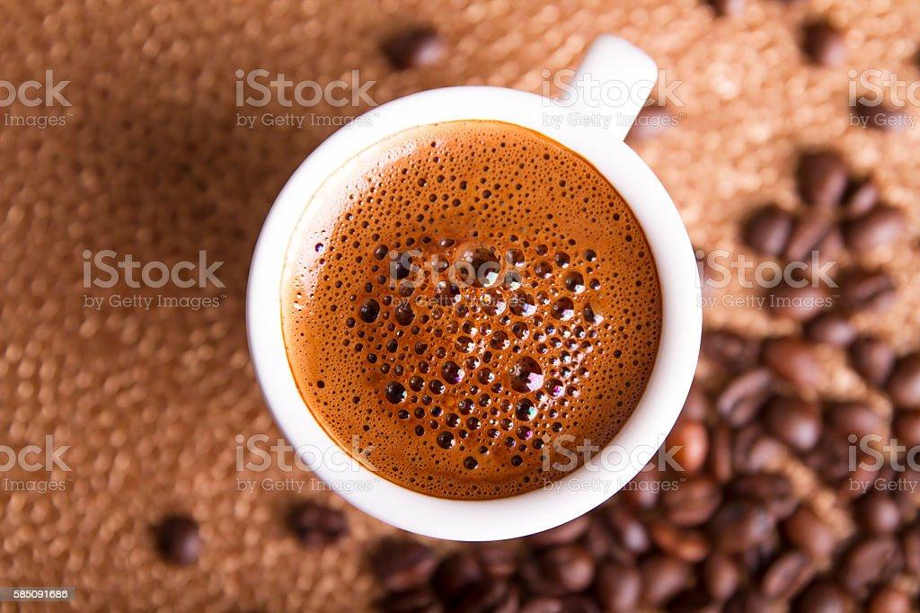 Fresh black turkish coffee - close up stock photo