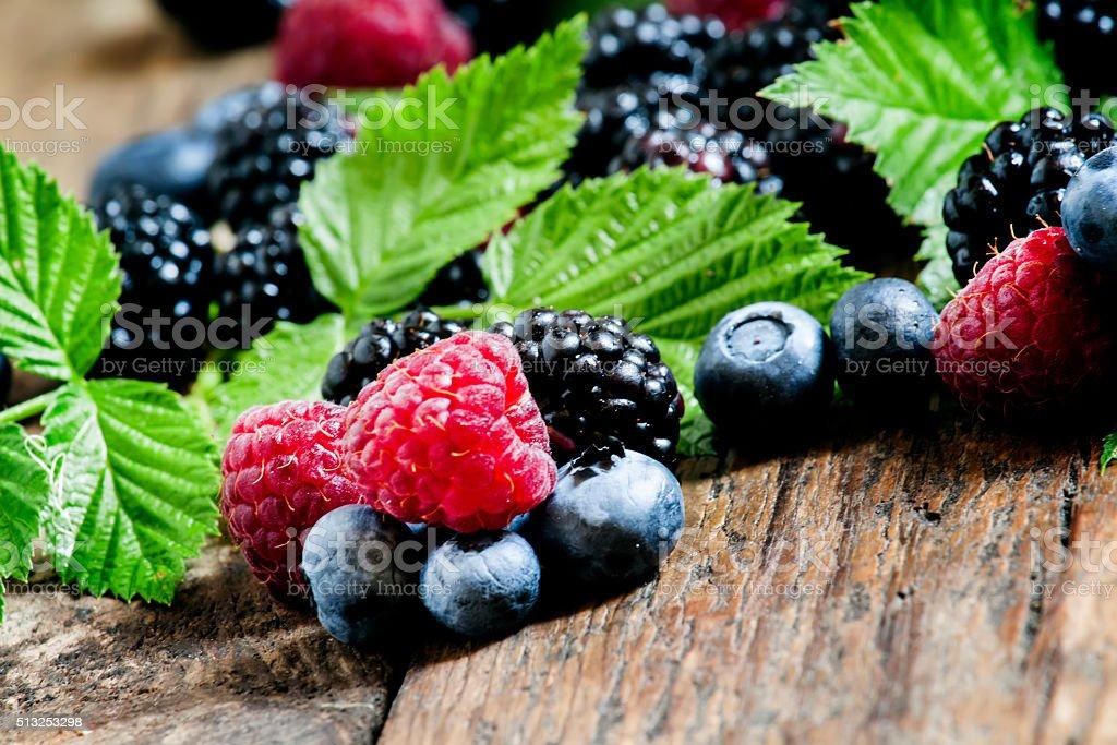 Fresh blackberries, blueberries and raspberries stock photo