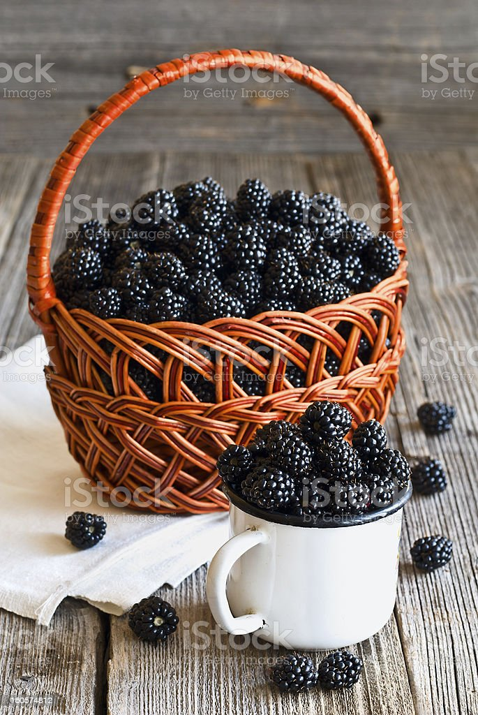 fresh blackberries on wooden rustic table royalty-free stock photo