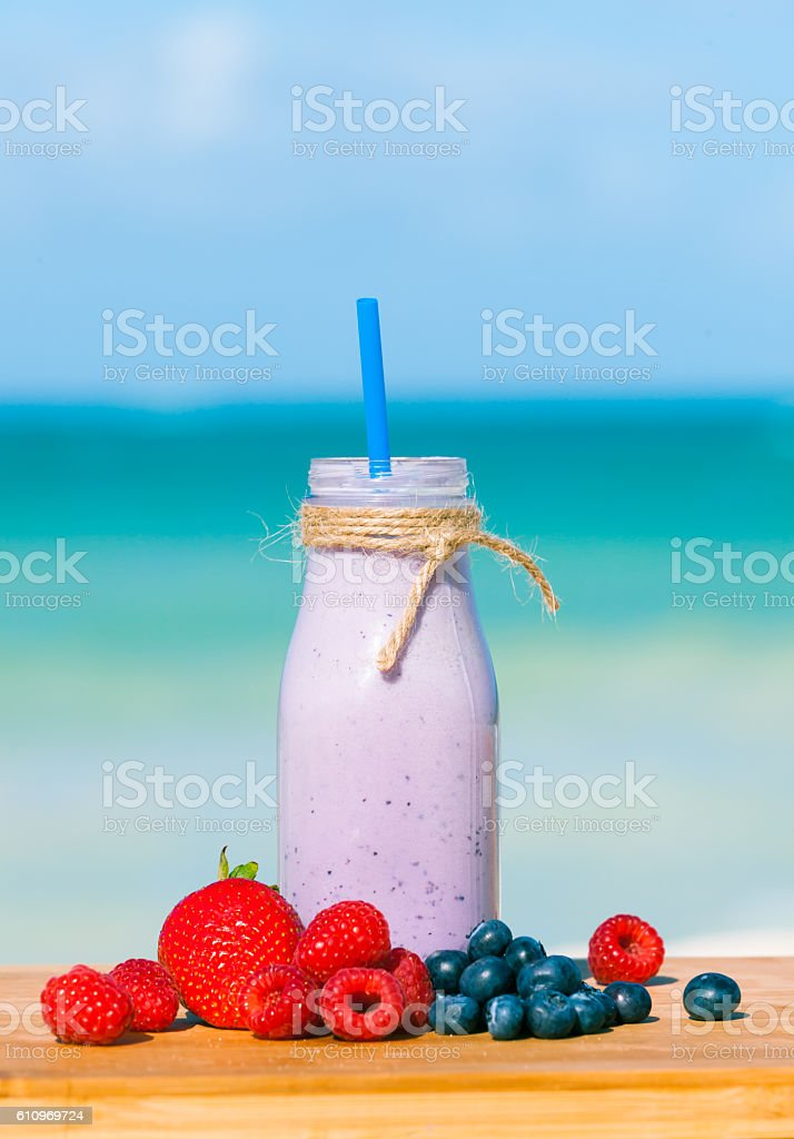 Fresh blended berries in a shake. stock photo