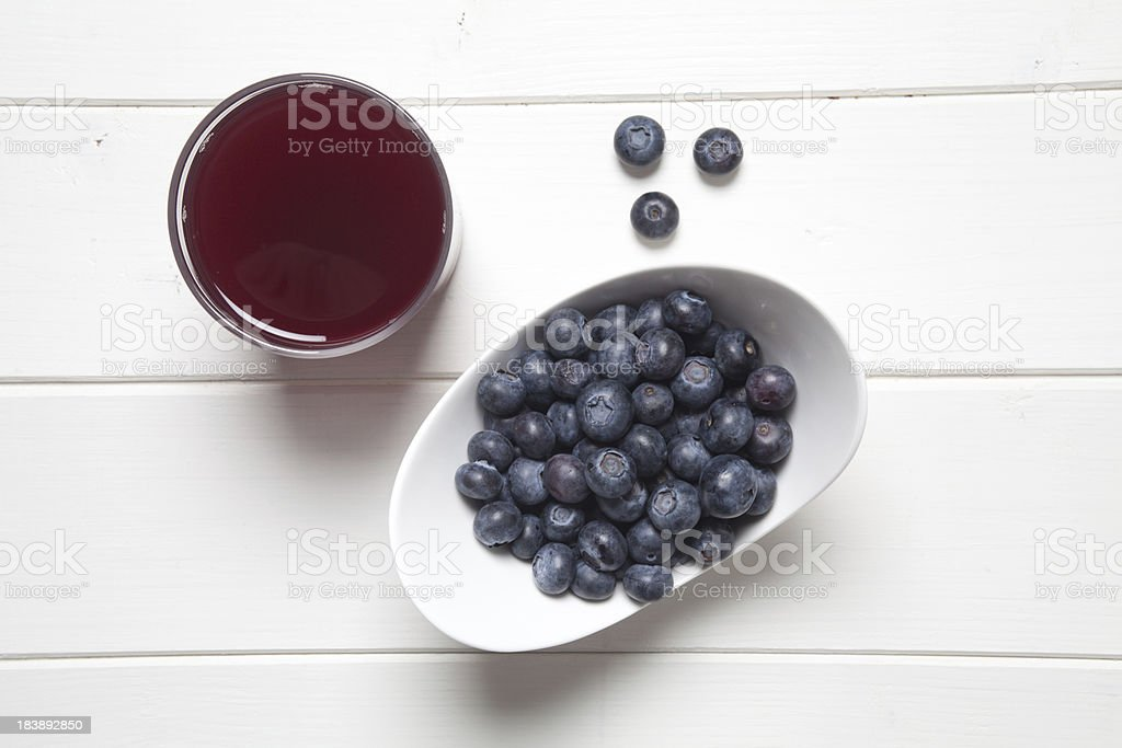 Fresh Blueberries and Juice royalty-free stock photo