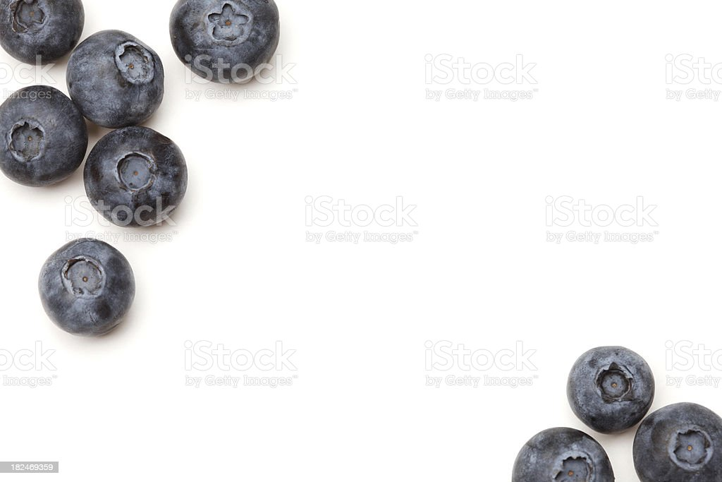 Fresh Blueberries on White Background with Copyspace stock photo