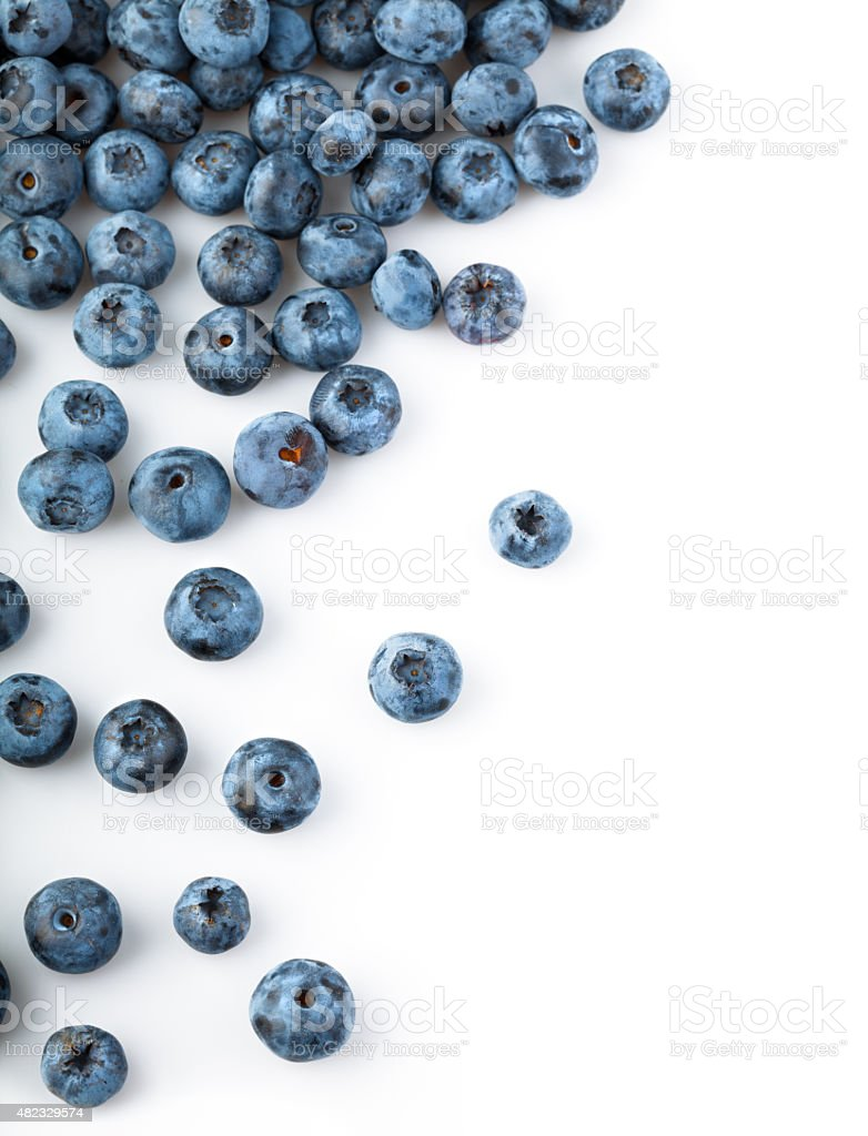 Fresh blueberries sprinkled stock photo