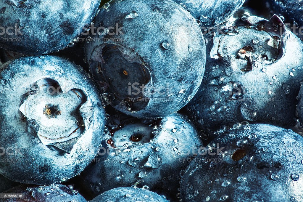 Fresh blueberry, covered with water drops. High detailed macro stock photo