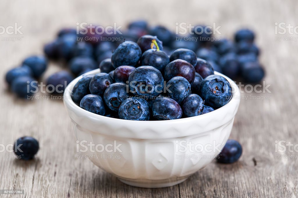 Fresh Blueberry in bowl. concept for healthy eating. stock photo
