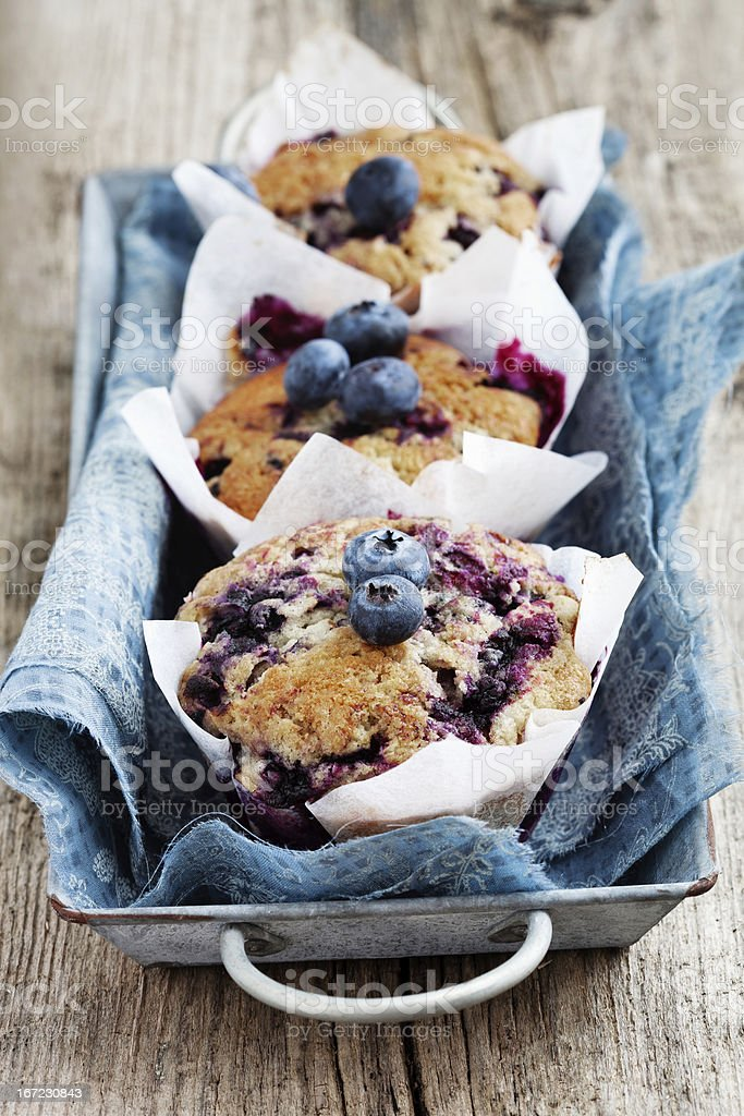 Fresh blueberry muffins served in a metal basket stock photo