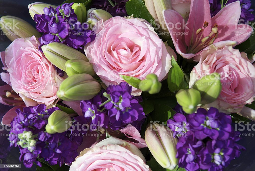 Fresh Bouquet Flower Bunch in Pink and Purple royalty-free stock photo