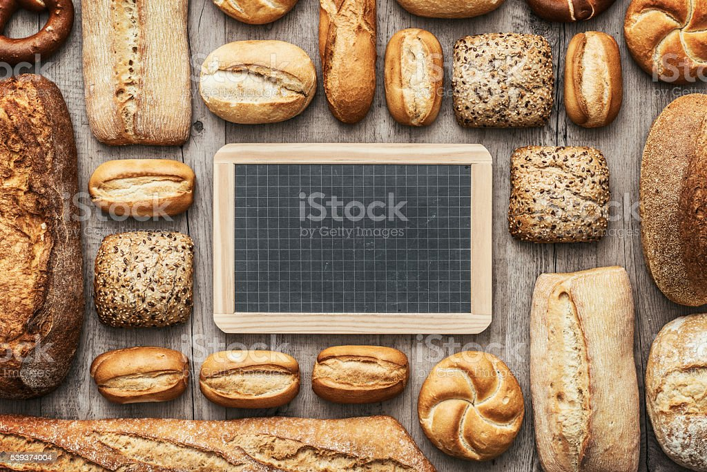 Fresh bread and chalkboard stock photo