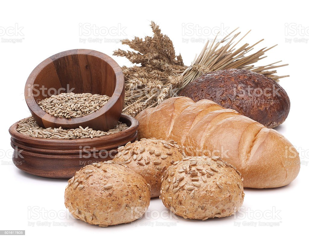 fresh bread and grain bowl isolated on white background cutout stock photo