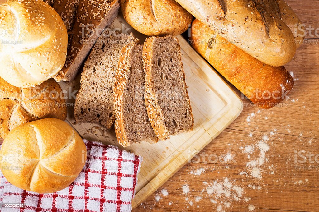 fresh bread and wheat stock photo
