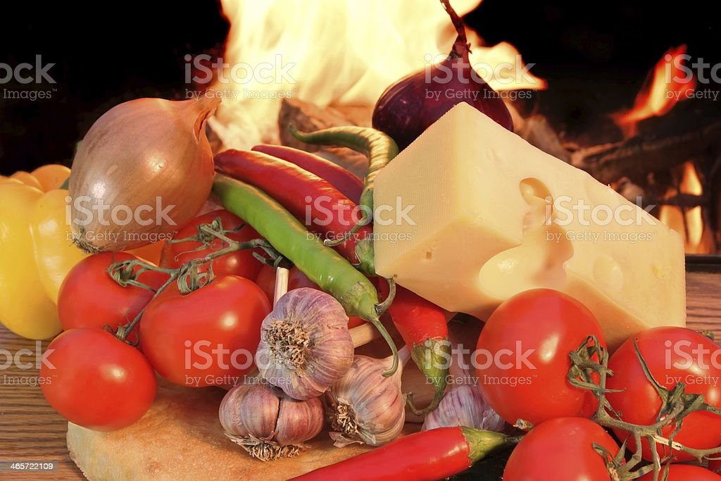 Fresh Bread Cheese and Vegetables stock photo