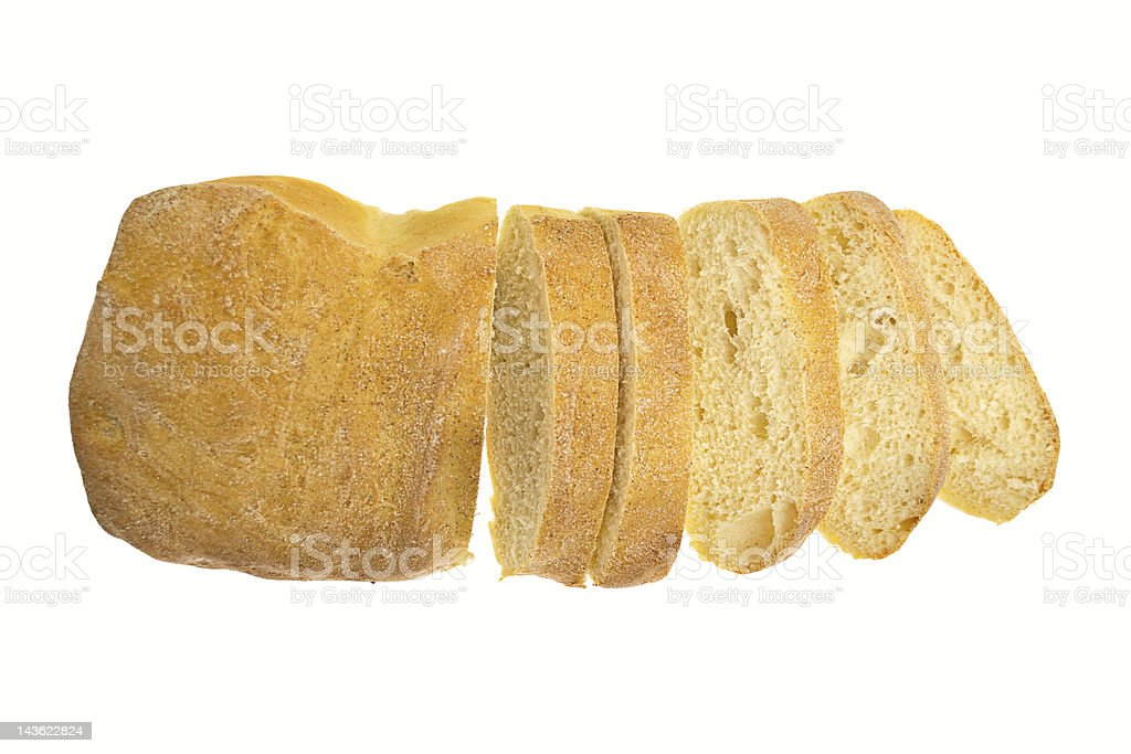 Fresh bread ciabatta isolated on white background. royalty-free stock photo
