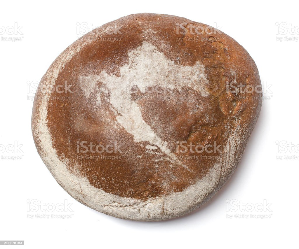 Fresh bread covered with rye flour shaping Croatia stock photo