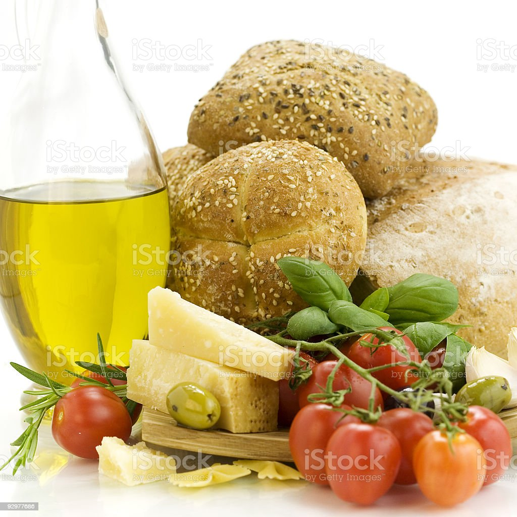 Fresh bread, herbs and vegetables royalty-free stock photo