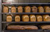 Fresh Bread in a Bakery in cooling rack