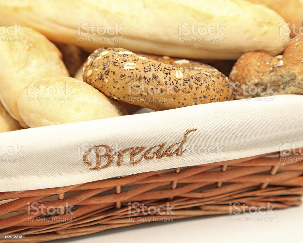 fresh bread in a wicker basket stock photo
