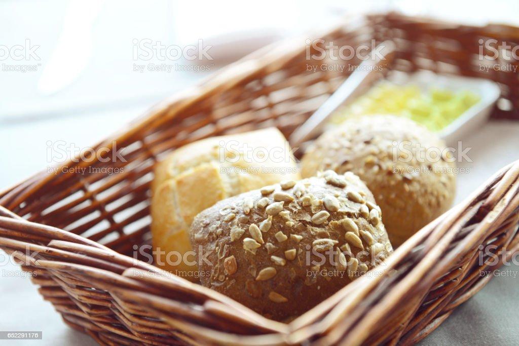Fresh bread in the basket stock photo