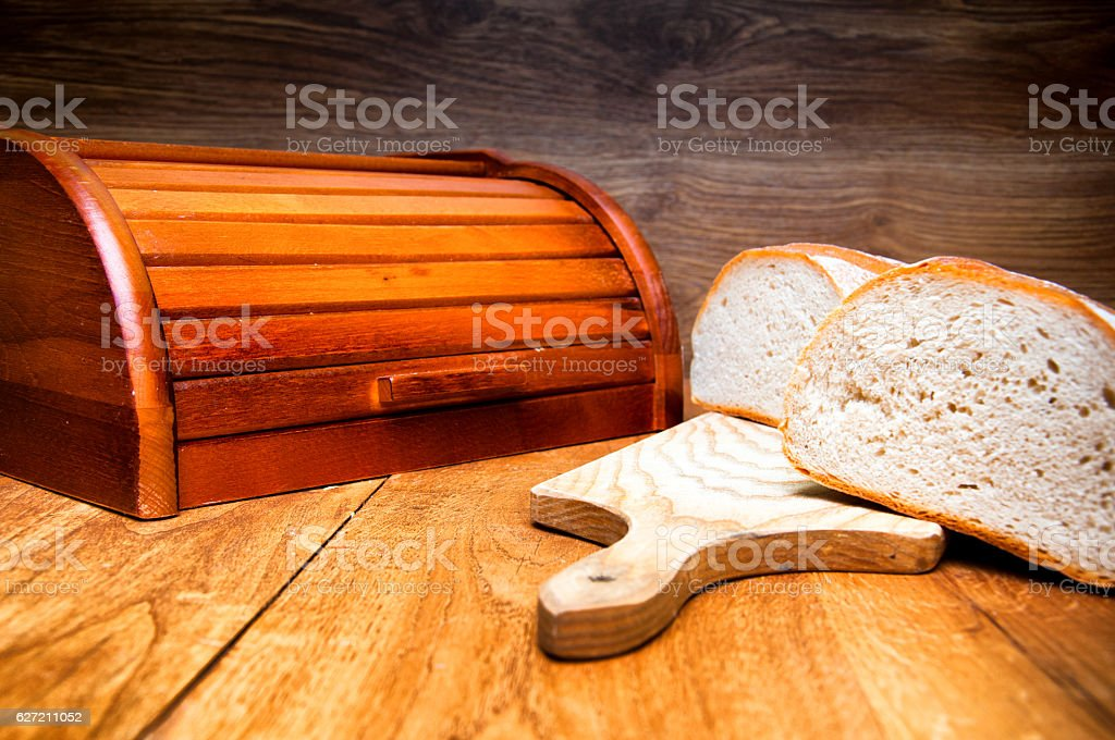 Fresh bread on wooden background stock photo