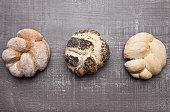 Fresh bread rolls for breakfast morning on wood