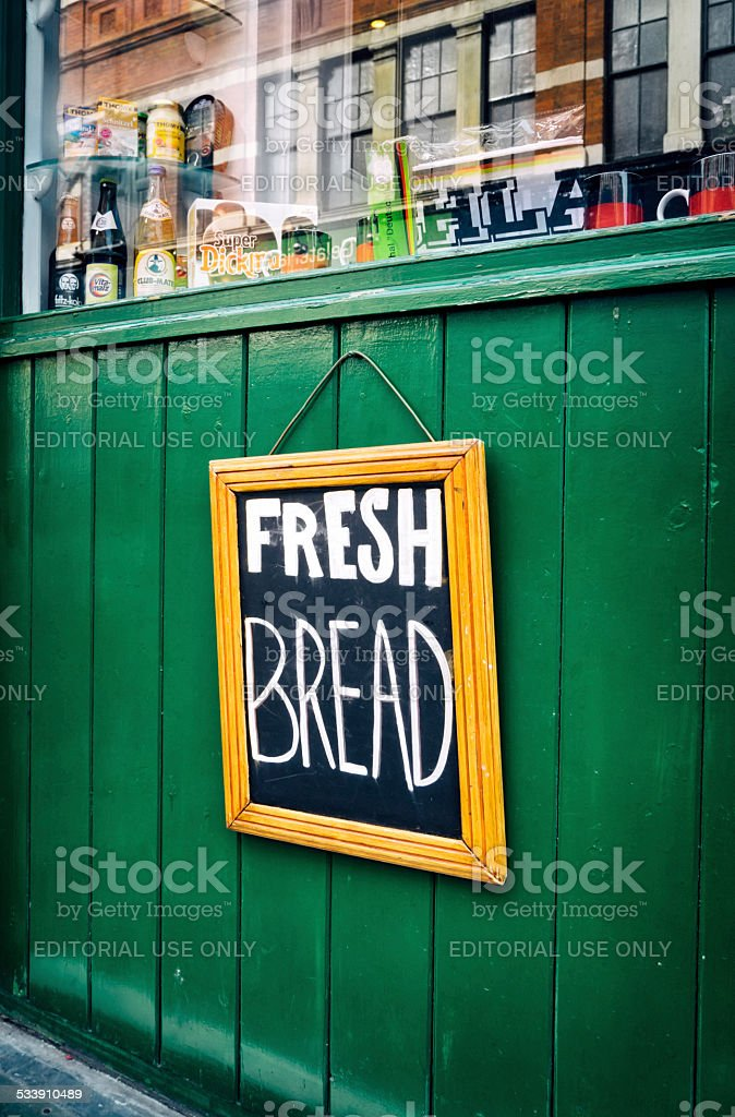 Fresh Bread sign outside a German bakery stock photo
