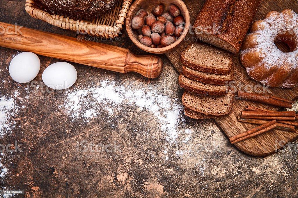 Fresh bread still life bakery product stock photo