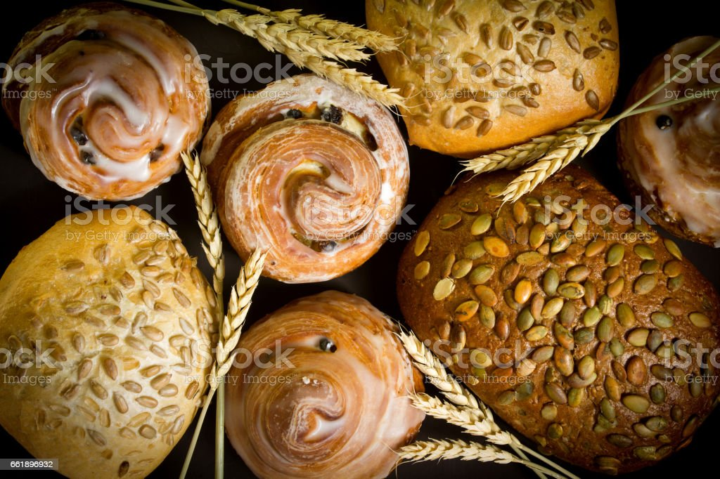 Fresh bread with seeds of sunflower and pumpkin seeds. stock photo