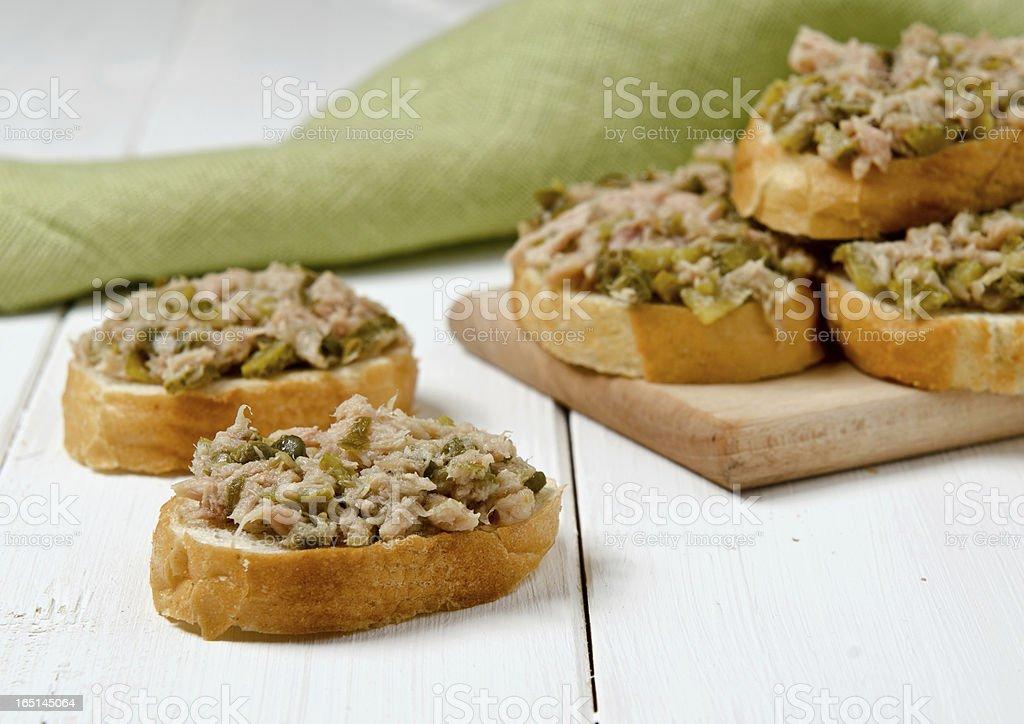 Fresh bread with tuna royalty-free stock photo