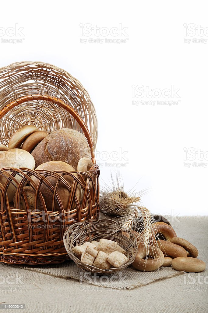 Fresh breads for a variety of sacking. stock photo